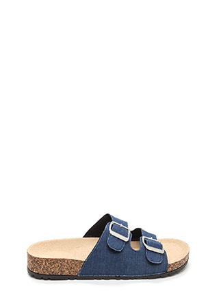 Buckled Up Denim Slide Sandals