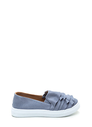 Ruffled Drama Faux Suede Sneakers