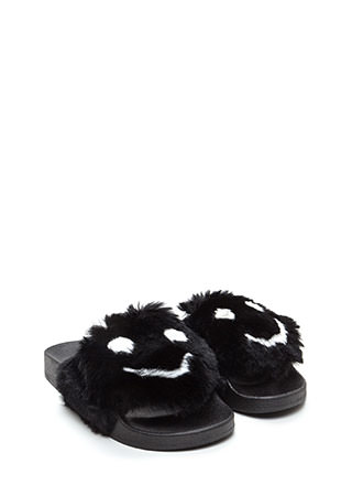 Happy To See You Faux Fur Slide Sandals