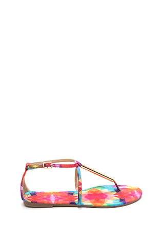 Chic Choice Rainbow T-Strap Sandals