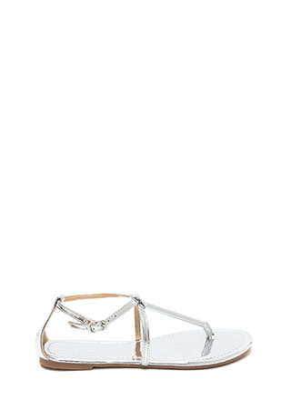 Chic Choice Metallic T-Strap Sandals