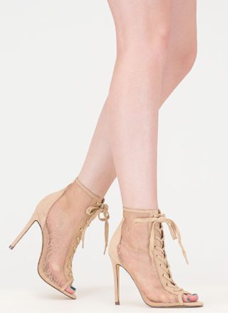 Style Points Sheer Lace-Up Booties