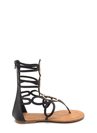 All Oval It Caged Gladiator Sandals