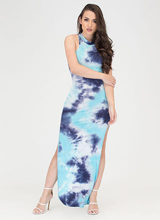 Sunset Cruise Tie-Dye Slit Maxi Dress
