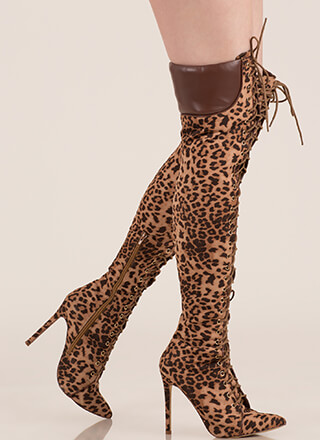 Statement Strut Leopard Thigh-High Boots