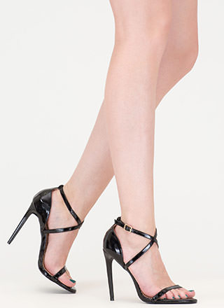 X-Off Strappy Faux Patent Heels