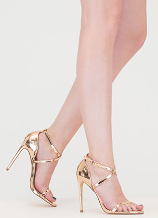X-Off Strappy Metallic Heels