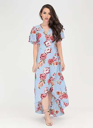 Sassy Florals High-Low Wrap Dress