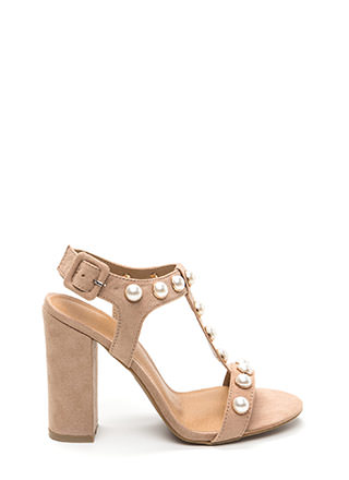 Pearl Power Strappy Faux Suede Heels