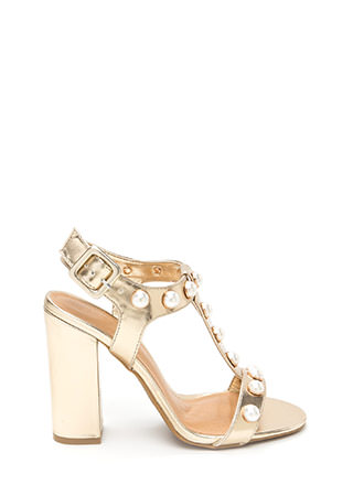Pearl Power Strappy Metallic Heels
