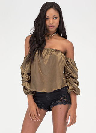 Flirty Peek Satin Off-Shoulder Top