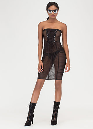 Fine And Flirty Sheer Lace-Up Dress