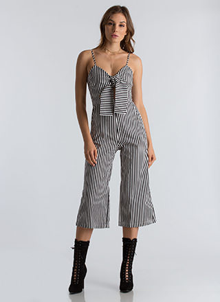 Bow My Goodness Striped Cropped Jumpsuit