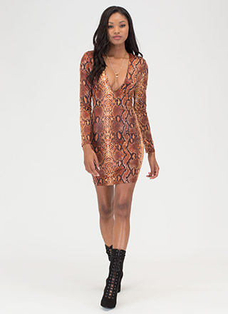 Snake Out Plunging Shoulder Pad Dress
