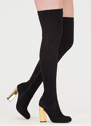 Shine Back Faux Suede Thigh-High Boots