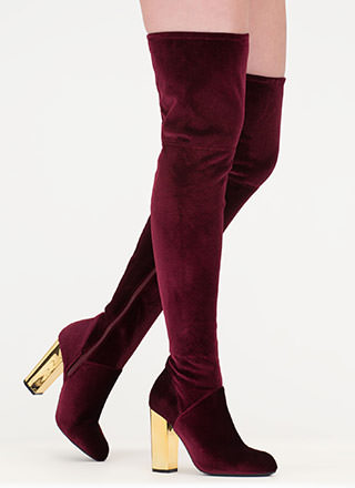 Shine Back Velvet Thigh-High Boots
