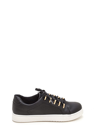 Raising The Bars Faux Leather Sneakers