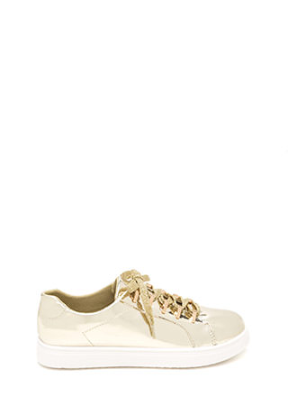 Raising The Bars Faux Patent Sneakers