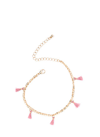 Tasseled Tale Double Chain Anklet