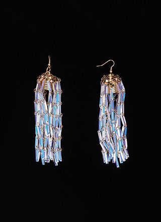 Off Duty Shine Hologram Tassel Earrings
