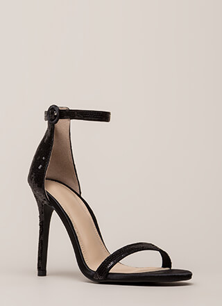 Fancy Footwork Strappy Sequined Heels