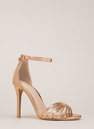 Stack The Deck Strappy Faux Patent Heels