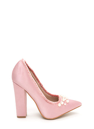 Point To Pearls Chunky Fringed Pumps