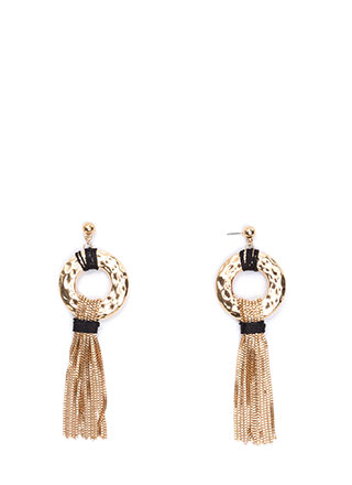 Bling Ring Fringed Statement Earrings