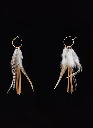 Dream Catcher Feathered Hoop Earrings