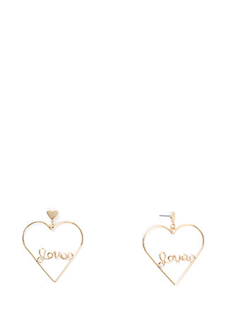 Love Myself Heart Statement Earrings