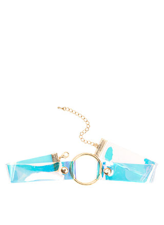 Throwback Babe Hologram Ring Choker