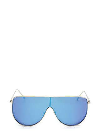Sporty Lifestyle Flat Shield Sunglasses