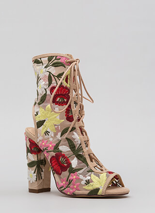 Petal Power Sheer Embroidered Booties