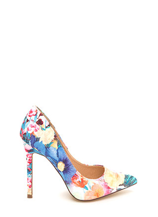 Believe In Basics Pointy Floral Heels