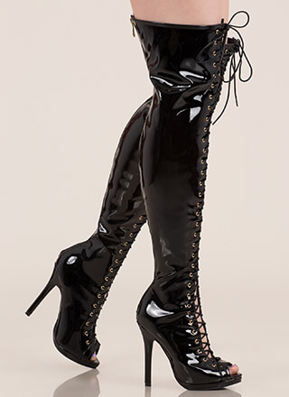 cb93e718176 Gloss Over Lace-Up Thigh-High Boots