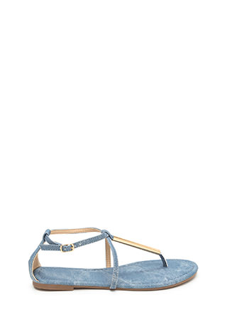 Chic Choice Denim T-Strap Sandals