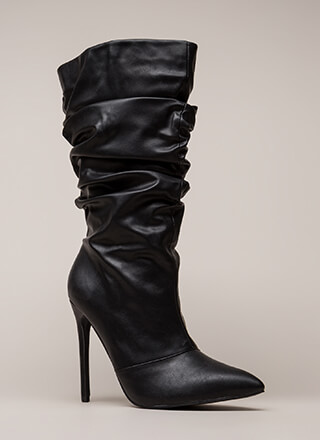 Stylish Slouch Faux Leather Boots