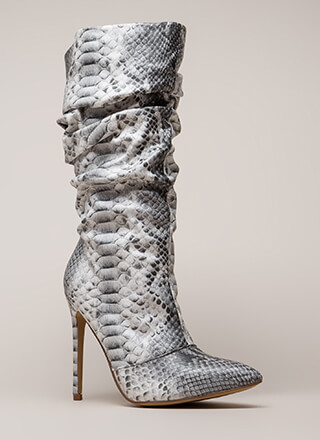 Stylish Slouch Faux Snakeskin Boots