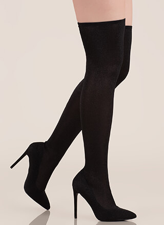 Time To Shine Glitzy Thigh-High Boots