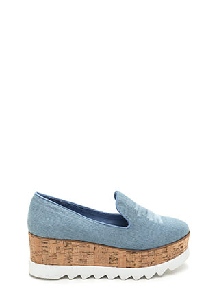 Sky High Denim Platform Wedges