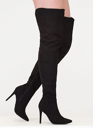Stand Tall Faux Suede Thigh-High Boots