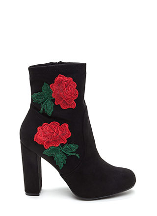 Rose Above Chunky Faux Suede Booties