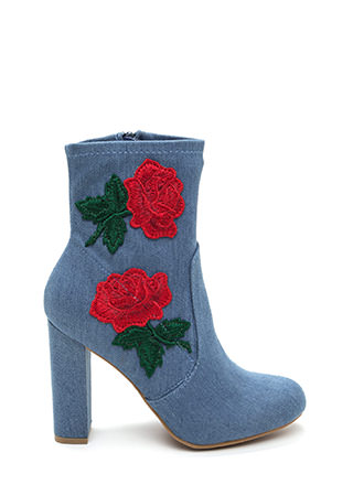 Rose Above Chunky Denim Booties
