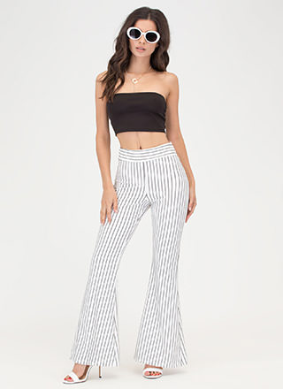 Learn Your Lines Flared Striped Pants