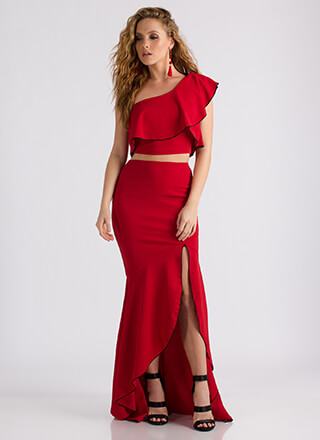 Special Night Ruffled Two-Piece Dress