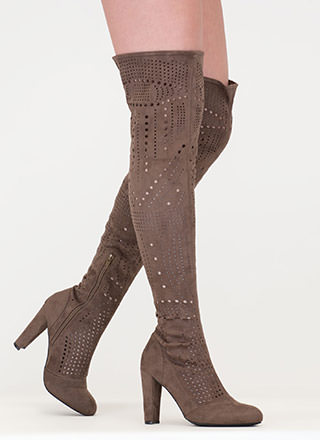 Inner Circle Perforated Thigh-High Boots
