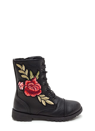 Battle In The Garden Floral Combat Boots