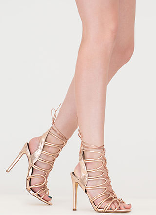 Loop Therapy Lace-Up Metallic Heels