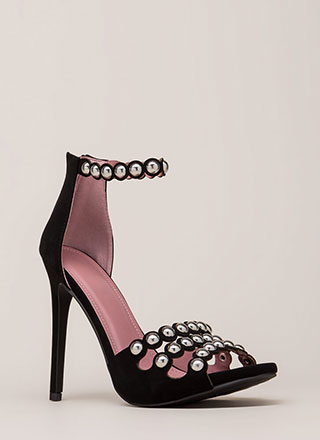 Triple Treat Studded Strappy Heels