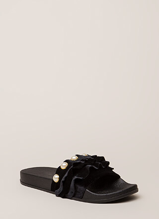 Precious Pearls Ruffled Slide Sandals